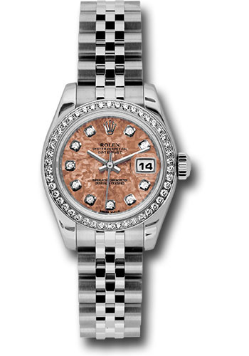 Rolex Watches - Datejust Lady - Steel 46 Diamond Bezel - Jubilee Bracelet - Style No: 179384 pgcdj