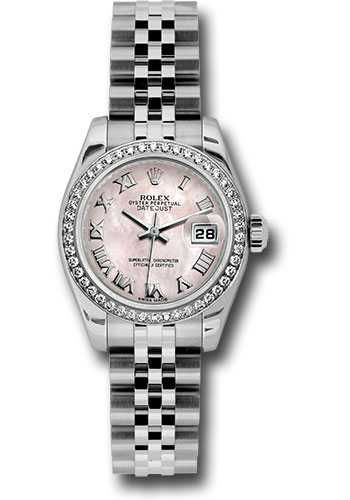 Rolex Watches - Datejust Lady - Steel 46 Diamond Bezel - Jubilee Bracelet - Style No: 179384 pmrj
