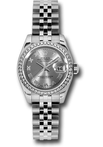 Rolex Watches - Datejust Lady - Steel 46 Diamond Bezel - Jubilee Bracelet - Style No: 179384 rrj