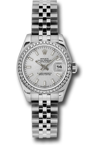 Rolex Watches - Datejust Lady - Steel 46 Diamond Bezel - Jublilee Bracelet - Style No: 179384 sij