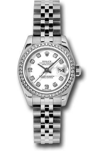 Rolex Watches - Datejust Lady - Steel 46 Diamond Bezel - Jublilee Bracelet - Style No: 179384 wdj
