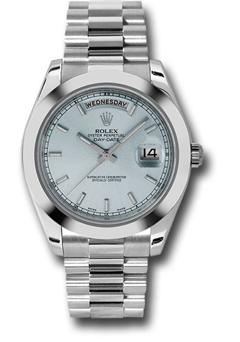 Rolex Watches - Day-Date II President Platinum - Polished Bezel - Style No: 218206 iblip