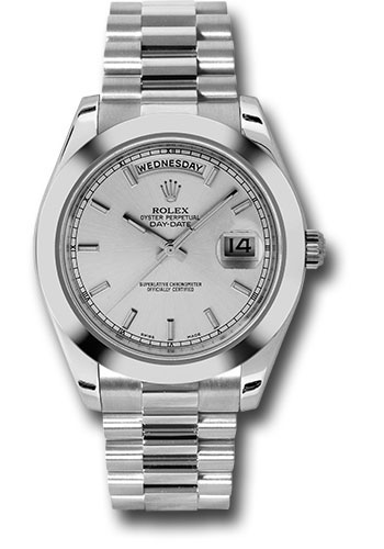 Rolex Watches - Day-Date II President Platinum - Polished Bezel - Style No: 218206 sip