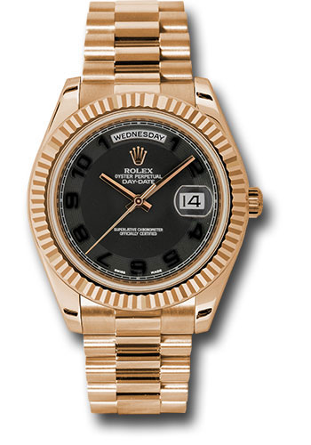 Rolex Watches - Day-Date II President Pink Gold - Fluted Bezel - Style No: 218235 bkcap