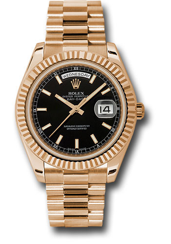 Rolex Watches - Day-Date II President Pink Gold - Fluted Bezel - Style No: 218235 bkip