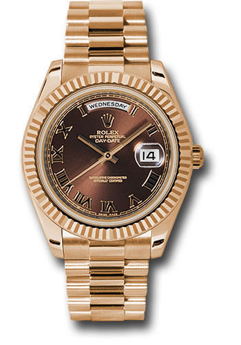 Rolex Watches - Day-Date II President Pink Gold - Fluted Bezel - Style No: 218235 brrp