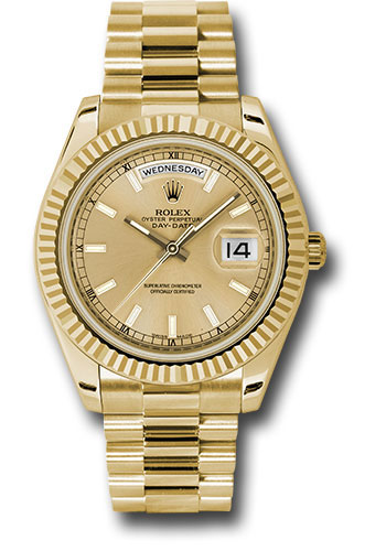 Rolex Watches - Day-Date II President Yellow Gold - Fluted Bezel - Style No: 218238 chip