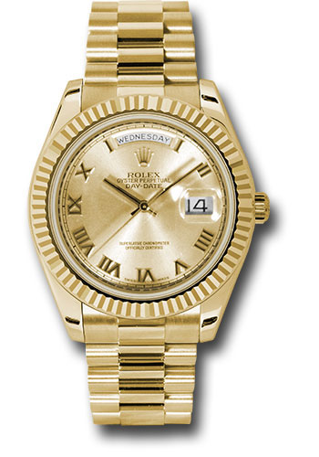 Rolex Watches - Day-Date II President Yellow Gold - Fluted Bezel - Style No: 218238 chrp