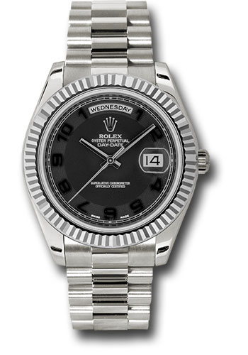 Rolex Watches - Day-Date II President White Gold - Fluted Bezel - Style No: 218239 bkcap