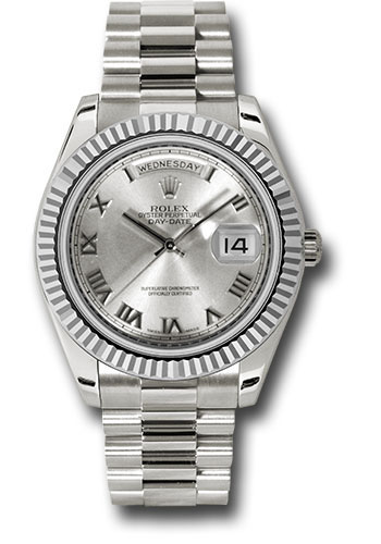 Rolex Watches - Day-Date II President White Gold - Fluted Bezel - Style No: 218239 rrp
