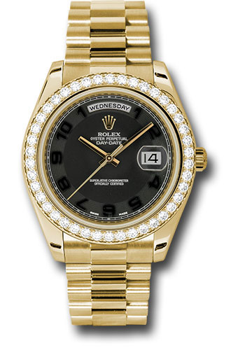 Rolex Watches - Day-Date II President Yellow Gold - Diamond Bezel - Style No: 218348 bkcap