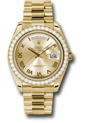 Rolex Watches - Day-Date II President Yellow Gold - Diamond Bezel - Style No: 218348 chrp