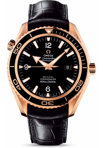 Omega Watches - Seamaster Planet Ocean 600M Co-Axial 45.5 mm - Red Gold - Leather Strap - Style No: 222.63.46.20.01.001