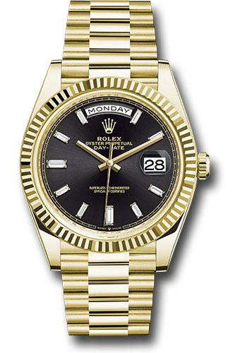 Rolex Yellow Gold Day Date 40 Watch Fluted Bezel Black Baguette Diamond Dial President Bracelet 228238 Bkbdp