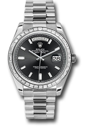 Rolex Watches - Day-Date 40 Platinum - Diamond Bezel - Style No: 228396TBR bkbdp