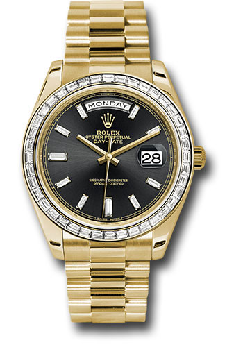Rolex Watches - Day-Date 40 Yellow Gold - Baguette Diamond Bezel - Style No: 228398TBR bkbdp