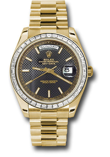 Rolex Watches - Day-Date 40 Yellow Gold - Baguette Diamond Bezel - Style No: 228398TBR bkdmip