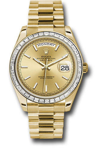 Rolex Watches - Day-Date 40 Yellow Gold - Baguette Diamond Bezel - Style No: 228398TBR chip