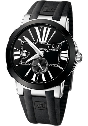 Ulysse Nardin Watches - Executive Dual Time Stainless Steel - Ceramic Bezel - Rubber Strap - Style No: 243-00-3/42
