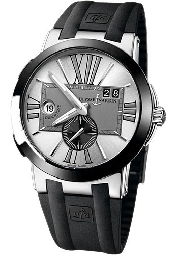Ulysse Nardin Watches - Executive Dual Time Stainless Steel - Ceramic Bezel - Rubber Strap - Style No: 243-00-3/421
