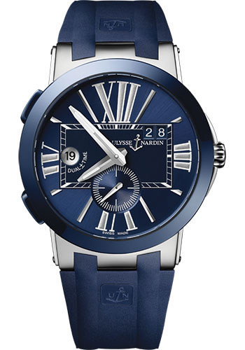 Ulysse Nardin Watches - Executive Dual Time Stainless Steel - Ceramic Bezel - Rubber Strap - Style No: 243-00-3/43