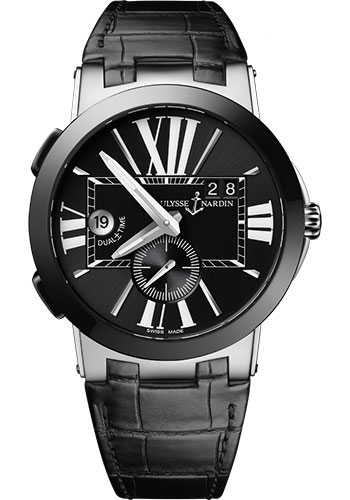 Ulysse Nardin Watches - Executive Dual Time Stainless Steel - Ceramic Bezel - Leather Strap - Style No: 243-00/42