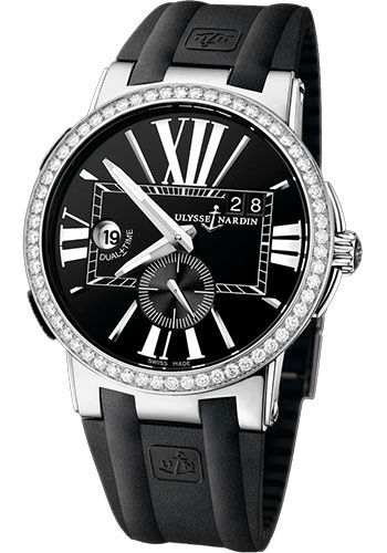 Ulysse Nardin Watches - Executive Dual Time Stainless Steel - Diamond Bezel - Rubber Strap - Style No: 243-00B-3/42