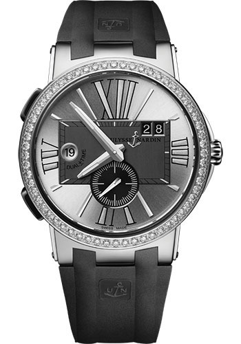 Ulysse Nardin Watches - Executive Dual Time Stainless Steel - Diamond Bezel - Rubber Strap - Style No: 243-00B-3/421