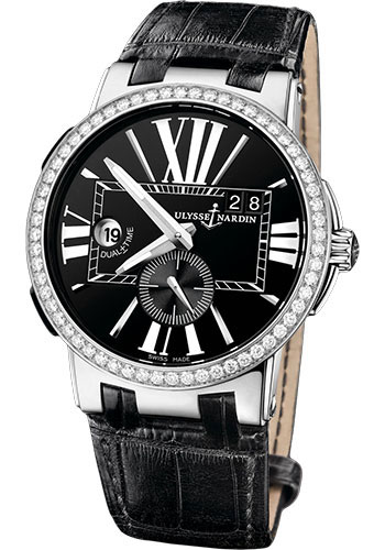 Ulysse Nardin Watches - Executive Dual Time Stainless Steel - Diamond Bezel - Leather Strap - Style No: 243-00B/42