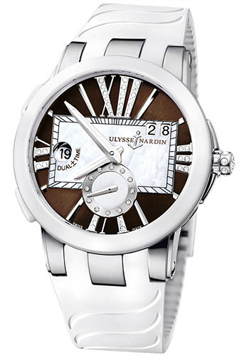 Ulysse Nardin Watches - Executive Dual Time Lady Stainless Steel - Ceramic Bezel - Rubber Strap - Style No: 243-10-3/30-05