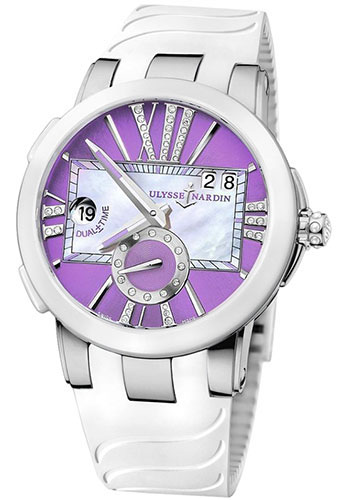 Ulysse Nardin Watches - Executive Dual Time Lady Stainless Steel - Ceramic Bezel - Rubber Strap - Style No: 243-10-3/30-07