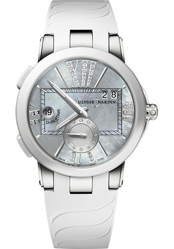 Ulysse Nardin Watches - Executive Dual Time Lady Stainless Steel - Ceramic Bezel - Rubber Strap - Style No: 243-10-3/391