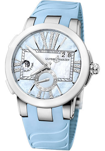 Ulysse Nardin Watches - Executive Dual Time Lady Stainless Steel - Ceramic Bezel - Rubber Strap - Style No: 243-10-3/393