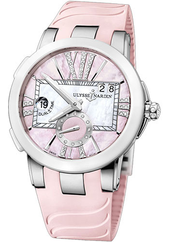 Ulysse Nardin Watches - Executive Dual Time Lady Stainless Steel - Ceramic Bezel - Rubber Strap - Style No: 243-10-3/397