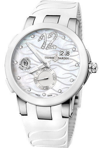 Ulysse Nardin Watches - Executive Dual Time Lady Stainless Steel - Ceramic Bezel - Rubber Strap - Style No: 243-10-3/691
