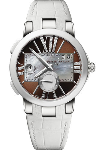 Ulysse Nardin Watches - Executive Dual Time Lady Stainless Steel - Ceramic Bezel - Leather Strap - Style No: 243-10/30-05