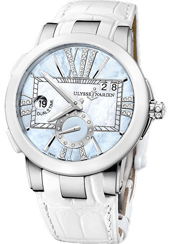Ulysse Nardin Watches - Executive Dual Time Lady Stainless Steel - Ceramic Bezel - Leather Strap - Style No: 243-10/393
