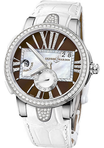 Ulysse Nardin Watches - Executive Dual Time Lady Stainless Steel - Diamond Bezel - Leather Strap - Style No: 243-10B/30-05