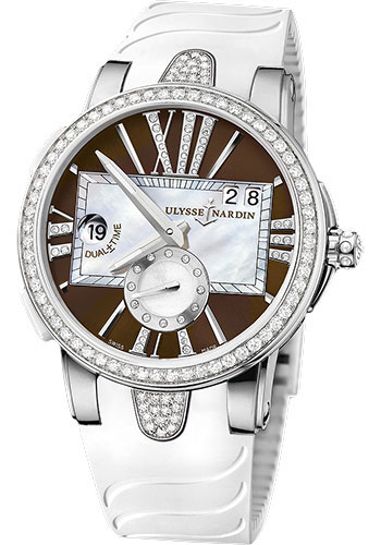 Ulysse Nardin Watches - Executive Dual Time Lady Stainless Steel - Diamond Bezel - Rubber Strap - Style No: 243-10B-3C/30-05