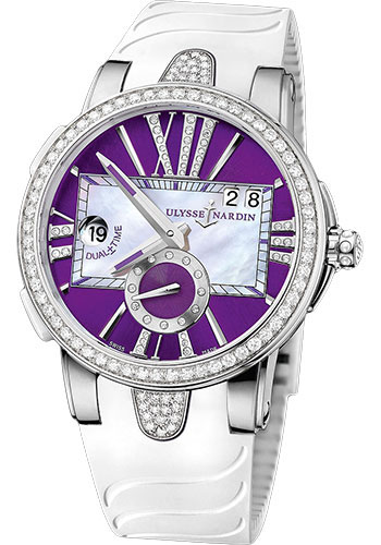 Ulysse Nardin Watches - Executive Dual Time Lady Stainless Steel - Diamond Bezel - Rubber Strap - Style No: 243-10B-3C/30-07