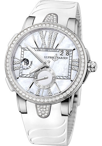 Ulysse Nardin Watches - Executive Dual Time Lady Stainless Steel - Diamond Bezel - Rubber Strap - Style No: 243-10B-3C/391