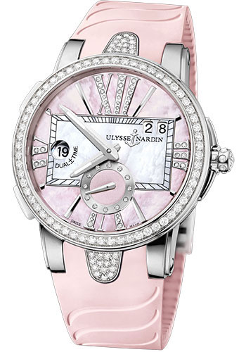 Ulysse Nardin Watches - Executive Dual Time Lady Stainless Steel - Diamond Bezel - Rubber Strap - Style No: 243-10B-3C/397