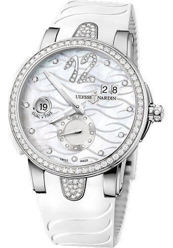 Ulysse Nardin Watches - Executive Dual Time Lady Stainless Steel - Diamond Bezel - Rubber Strap - Style No: 243-10B-3C/691