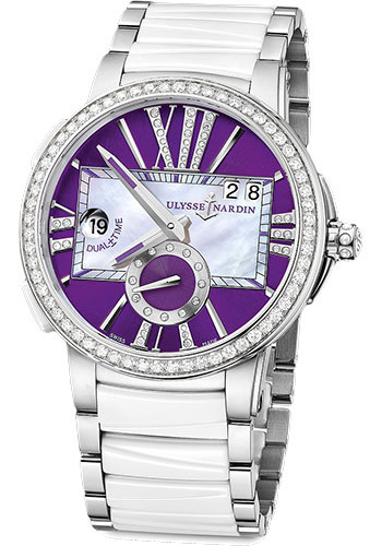 Ulysse Nardin Watches - Executive Dual Time Lady Stainless Steel - Diamond Bezel - Bracelet - Style No: 243-10B-7/30-07