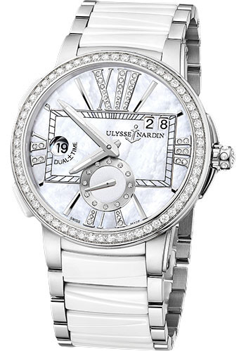 Ulysse Nardin Watches - Executive Dual Time Lady Stainless Steel - Diamond Bezel - Bracelet - Style No: 243-10B-7/391
