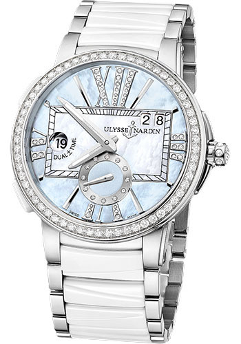 Ulysse Nardin Watches - Executive Dual Time Lady Stainless Steel - Diamond Bezel - Bracelet - Style No: 243-10B-7/393