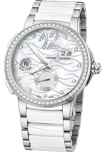 Ulysse Nardin Watches - Executive Dual Time Lady Stainless Steel - Diamond Bezel - Bracelet - Style No: 243-10B-7/691