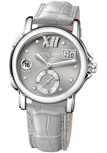 Ulysse Nardin Watches - Classic Dual Time Lady Stainless Steel - Leather Strap - Style No: 243-22/30-02