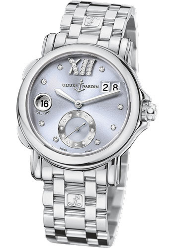 Ulysse Nardin Watches - Classic Dual Time Lady Stainless Steel - Bracelet - Style No: 243-22-7/30-07