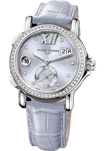 Ulysse Nardin Watches - Classic Dual Time Lady Stainless Steel - Diamond Bezel - Leather Strap - Style No: 243-22B/30-07